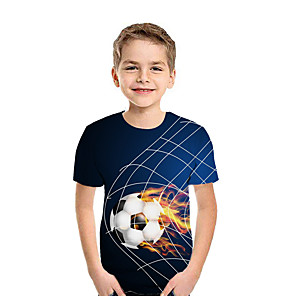 cheap Video Game Accessories-Kids Boys' Active Street chic Geometric 3D Patchwork Print Short Sleeve Tee Blue