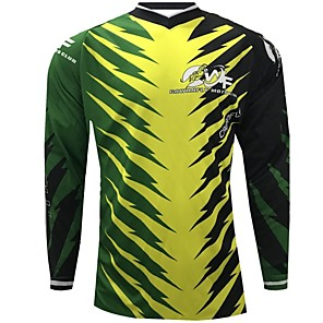 cheap Cycling Jerseys-CAWANFLY Men's Long Sleeve Cycling Jersey Downhill Jersey Dirt Bike Jersey Winter Polyester Black Novelty Leaf Floral Botanical Bike Jersey Top Mountain Bike MTB Breathable Quick Dry Sweat-wicking
