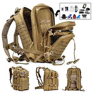 cheap Backpacks & Bags-45 L Hiking Backpack Military Tactical Backpack Multifunctional Lightweight Breathable Durable Outdoor Camping / Hiking Hunting Fishing Nylon Black Army Green Khaki / Yes / Wear Resistance