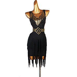 cheap Latin Dancewear-Latin Dance Dress Tassel Crystals / Rhinestones Women's Performance Sleeveless Spandex