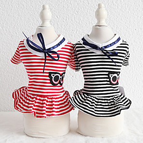 cheap Dog Clothes-Dog Costume Dress Dog Clothes Breathable Red Black Costume Beagle Bichon Frise Chihuahua Cotton Stripes Embroidered Casual / Sporty Cute XS S M L XL