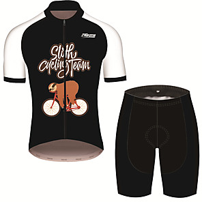 cheap Cycling Jersey & Shorts / Pants Sets-21Grams Men's Short Sleeve Cycling Jersey with Shorts Black / White Animal Sloth Bike Clothing Suit UV Resistant Breathable 3D Pad Quick Dry Sweat-wicking Sports Animal Mountain Bike MTB Road Bike