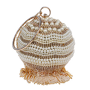 cheap Clutches & Evening Bags-Women's Pearls / Tassel Polyester Evening Bag Striped Black / Gold / Silver