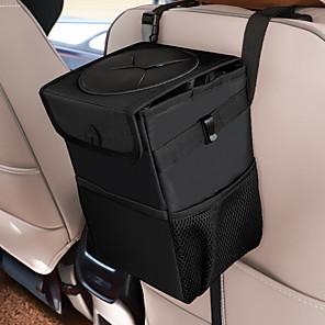 cheap Car Headrests&Waist Cushions-Black Car Trash Can With Lid And Storage Pocket Car Organizer Storage Bags