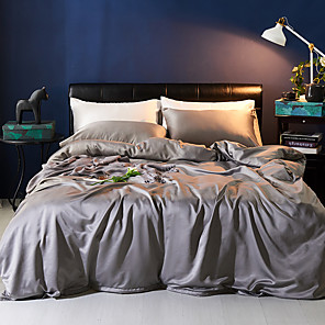 cheap Solid Duvet Covers-Duvet Cover Sets 4 Piece Polyester / Viscose Solid Colored Light gray Printed Simple