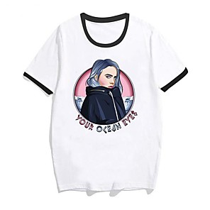 cheap Everyday Cosplay Anime Hoodies & T-Shirts-Inspired by Cosplay Billie Eilish Cosplay Costume T-shirt Pure Cotton Print T-shirt For Men's / Women's