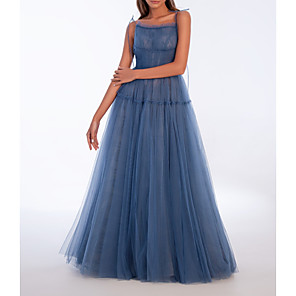 cheap Outdoor IP Network Cameras-A-Line Sexy Prom Formal Evening Dress Spaghetti Strap Sleeveless Floor Length Tulle with Pleats 2020