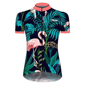cheap Cycling Jerseys-21Grams Women's Short Sleeve Cycling Jersey Pink+Green Flamingo Animal Floral Botanical Bike Jersey Top Mountain Bike MTB Road Bike Cycling UV Resistant Breathable Quick Dry Sports Clothing Apparel