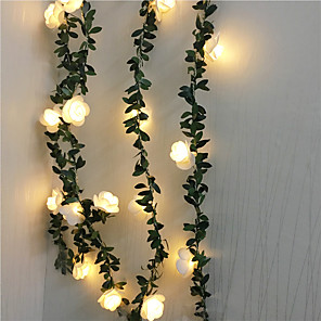 cheap LED String Lights-6M Artificial Plants Led String Light Creeper Green Leaf Ivy Vine For Home Wedding Decor Lamp DIY Hanging Garden Yard Lighting Powered By AAA Battery Box 1 set