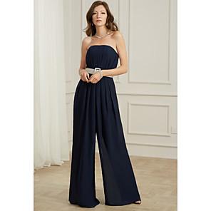 cheap Women's Heels-Jumpsuits Sexy Wedding Guest Formal Evening Dress Strapless Sleeveless Floor Length Chiffon with Sash / Ribbon Pleats 2020