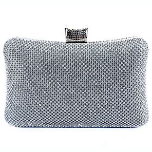 cheap Handbag & Totes-Women's Bags Polyester / Alloy Evening Bag Glitter Crystals for Wedding / Party / Event / Party Black / Gold / Silver / Wedding Bags