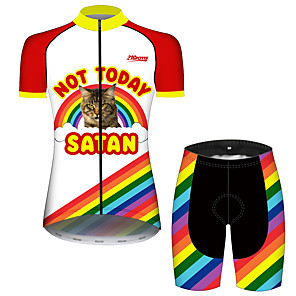cheap Cycling Jersey & Shorts / Pants Sets-21Grams Women's Short Sleeve Cycling Jersey with Shorts Red and White Cat Rainbow Animal Bike Clothing Suit Breathable 3D Pad Quick Dry Ultraviolet Resistant Sweat-wicking Sports Cat Mountain Bike