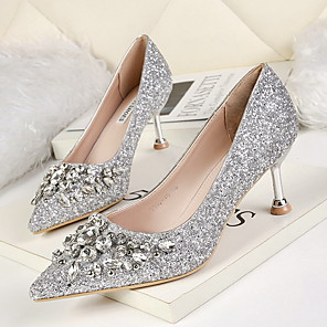 cheap Wedding Shoes-Women's Heels Glitter Crystal Sequined Jeweled Stiletto Heel Pointed Toe PU Spring & Summer Red / Gold / Silver / Daily