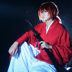 cheap Anime Costumes-Inspired by Rurouni Kenshin Himura Kenshin Anime Cosplay Costumes Japanese Cosplay Suits Top Pants Belt For Men's Women's