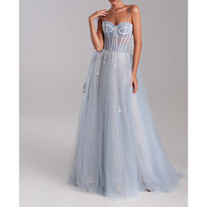 cheap Evening Dresses-A-Line Luxurious Blue Engagement Formal Evening Dress Sweetheart Neckline Sleeveless Sweep / Brush Train Tulle with Appliques 2020