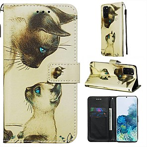 cheap Samsung Case-Case For Samsung Galaxy A90/Galaxy A80/Galaxy A50s Wallet / Card Holder / with Stand Full Body Cases Cat PU Leather For Galaxy A51/A71/S20/S20 Plus/S20 Ultra/A10S/A20S/A30S