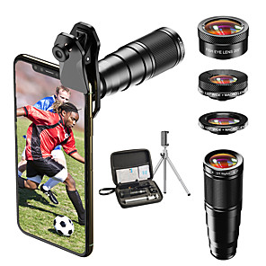 cheap Smartphone Camera Lenses-Mobile Phone Lens Lens with Filter / Fish-Eye Lens / Long Focal Lens Glasses 10X Macro 33 mm 205 ° Lens with Stand