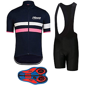 cheap Cycling Jersey & Shorts / Pants Sets-21Grams Men's Short Sleeve Cycling Jersey with Bib Shorts Pink / Black Stripes Bike Clothing Suit UV Resistant Breathable 3D Pad Quick Dry Sweat-wicking Sports Solid Color Mountain Bike MTB Road Bike