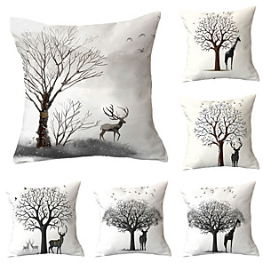 cheap Pillow Covers-6 pcs Polyester Pillow Cover, Cartoon Graphic Prints Modern Premium Square Traditional Classic