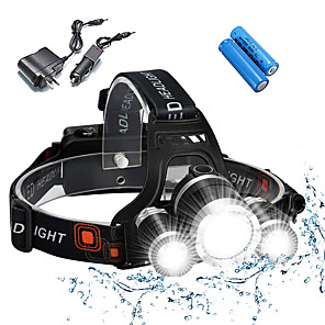 cheap Flashlights & Camping Lanterns-Headlamps Bike Light Headlight Waterproof Rechargeable 5000 lm LED 3 Emitters 4 Mode with Batteries and Chargers Waterproof Rechargeable Impact Resistant Camping / Hiking / Caving Everyday Use Police