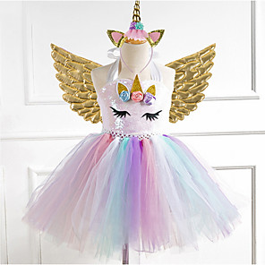 cheap Movie & TV Theme Costumes-Kids Girls' Rainbow Dress Gold