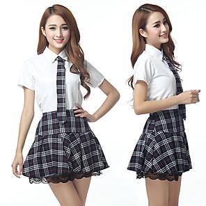cheap Anime Costumes-Uniforms Student / School Uniform Adults' Women's Dress For Terylene Masquerade Shirt Skirt Tie