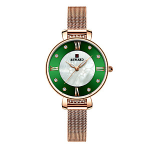 cheap Quartz Watches-Women's Steel Band Watches Luxury Sparkle Stainless Steel Chinese Quartz White+Coffee Gold Green Water Resistant / Waterproof 30 m 1 pc Analog One Year Battery Life