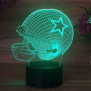 cheap 3D Night Lights-Pentagram Rugby Hat MIAMI Colorful Touch 3D Gift Night Light USB Dallas Cowboy Helmet