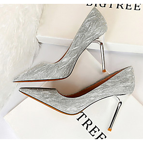 cheap Wedding Shoes-Women's Heels Glitter Crystal Sequined Jeweled Stiletto Heel Pointed Toe PU Spring & Summer Champagne / Silver / Daily