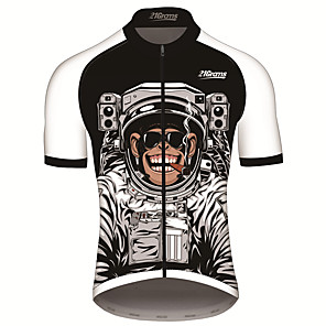 cheap Cycling Jerseys-21Grams Men's Short Sleeve Cycling Jersey Black / White Animal Astronaut Monkey Bike Jersey Top Mountain Bike MTB Road Bike Cycling UV Resistant Breathable Quick Dry Sports Clothing Apparel