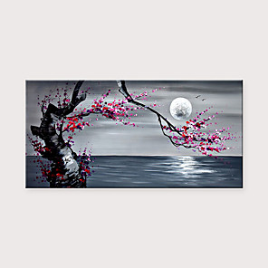cheap Floral/Botanical Paintings-Handmade Beautiful Plum Blossom Scenery Under The Moon Seascape Artwork Oil Paintings