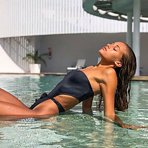 cheap Wetsuits, Diving Suits & Rash Guard Shirts-Women's One Piece Swimsuit Swimwear Swimwear Black Quick Dry High Elasticity Swimming Surfing Beach Spring Summer / Leotard / Onesie / Bikini / Peplum Swimsuit