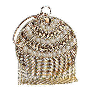 cheap Clutches & Evening Bags-Women's Pearls / Tassel Polyester Evening Bag Striped Gold / Silver / Blue