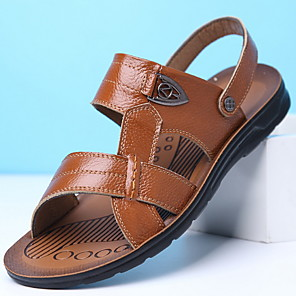 cheap Men's Sandals-Men's Pigskin Summer Sandals Breathable Yellow / Brown / Black