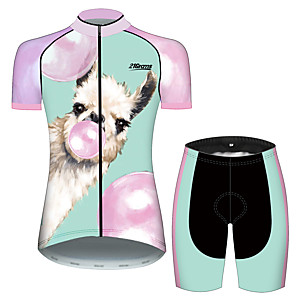 cheap Cycling Jersey & Shorts / Pants Sets-21Grams Women's Short Sleeve Cycling Jersey with Shorts Spandex Polyester Pink+Green Animal Balloon Alpaca Bike Clothing Suit Breathable 3D Pad Quick Dry Ultraviolet Resistant Sweat-wicking Sports