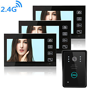 cheap Video Door Phone Systems-Wireless 2.4GHz 7 inch Hands-free 800*480 Pixel One to Three video doorphone