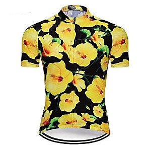 cheap Cycling Jerseys-21Grams Men's Short Sleeve Cycling Jersey Green / Yellow Floral Botanical Bike Jersey Top Mountain Bike MTB Road Bike Cycling UV Resistant Breathable Quick Dry Sports Clothing Apparel / Stretchy