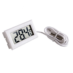 cheap Robots & Accessories-Mini Digital LCD White Thermometer With Probe Battery Outdoor Indoor Thermometer