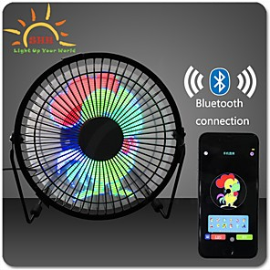cheap Prom Dresses-DIY 6 Inches USB LED Light Metal Electrical Rotatable Clock Fan Colorful Display bluetooth Connect with APP Control