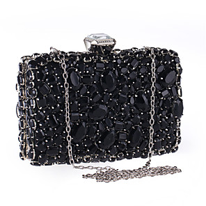 cheap Clutches & Evening Bags-Women's Crystals / Chain Acrylic / Polyester Evening Bag Solid Color Black / Silver