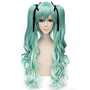 cheap Anime Cosplay Wigs-Cosplay Hashibira Inosuke Cosplay Wigs Women's With 2 Ponytails 28 inch Heat Resistant Fiber Curly Green Adults' Anime Wig