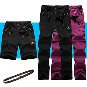 cheap Hiking Trousers & Shorts-Women's Hiking Pants Convertible Pants / Zip Off Pants Summer Outdoor Breathable Quick Dry Stretchy Sweat-Wicking Shorts Pants / Trousers Bottoms Black Army Green Fuchsia Grey Camping / Hiking
