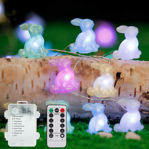 cheap LED String Lights-3M 30Leds Easter Rabbit Shape String Light Bunny Lamp Battery Operated Lighting Home Party Decoration Easter Festival Supplies