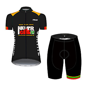 cheap Cycling Jersey & Shorts / Pants Sets-21Grams Women's Short Sleeve Cycling Jersey with Shorts Black / Yellow Patchwork Bike Clothing Suit Breathable 3D Pad Quick Dry Ultraviolet Resistant Sweat-wicking Sports Solid Color Mountain Bike