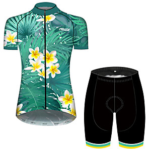 cheap Cycling Jersey & Shorts / Pants Sets-21Grams Women's Short Sleeve Cycling Jersey with Shorts Green / Yellow Leaf Floral Botanical Bike Clothing Suit Breathable 3D Pad Quick Dry Ultraviolet Resistant Sweat-wicking Sports Leaf Mountain