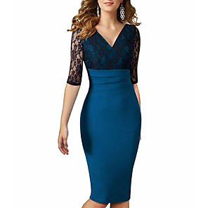 cheap Historical & Vintage Costumes-Women's Sheath Dress - 3/4 Length Sleeve Color Block V Neck Blue S M L XL XXL