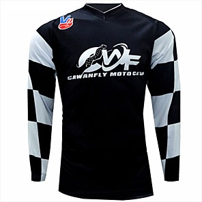 cheap Cycling Jerseys-CAWANFLY Men's Long Sleeve Cycling Jersey Downhill Jersey Dirt Bike Jersey Winter Polyester Black Plaid / Checkered Novelty Bike Jersey Top Mountain Bike MTB Breathable Quick Dry Sweat-wicking Sports