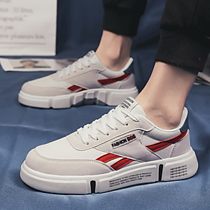 cheap Men's Sneakers-Men's Comfort Shoes Suede Spring & Summer / Fall & Winter Sporty / Preppy Sneakers Walking Shoes Breathable White / Light Red / Green
