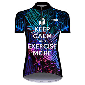 cheap Cycling Jerseys-21Grams Women's Short Sleeve Cycling Jersey Dark Blue Floral Botanical Bike Jersey Top Mountain Bike MTB Road Bike Cycling UV Resistant Breathable Quick Dry Sports Clothing Apparel / Stretchy