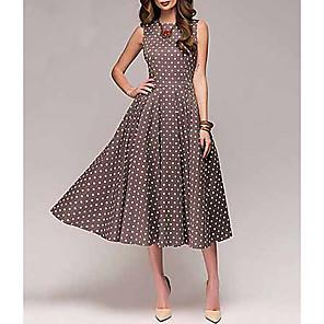 cheap Women's Heels-Women's A Line Dress - Sleeveless Polka Dot Spring & Summer 2020 Red Green Brown S M L XL XXL XXXL XXXXL